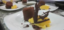 Moelleux coulant au chocolat, sorbet clémentines